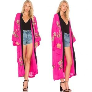 FREE PEOPLE Pink Floral Embroidered Kimono, S